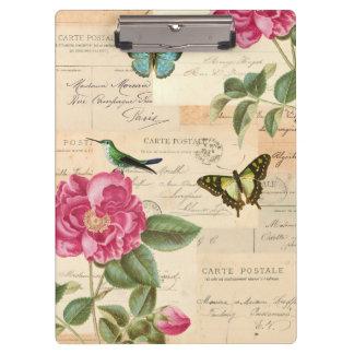 Het vintage klembord van Girly met rozen en