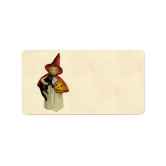 Het vintage Meisje van Halloween Etiket