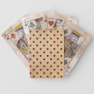 Het vintage Patroon van de Harten van de Polka van Poker Kaarten