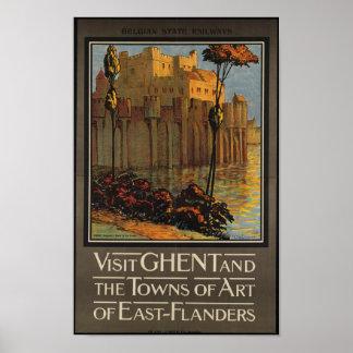 Het vintage Poster van de Reis voor België