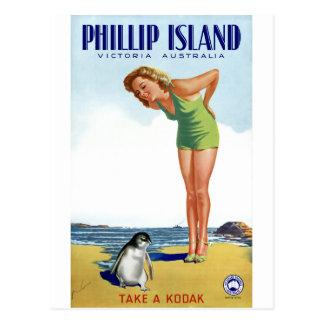 Het Vintage Poster van Phillip Island Victoria Briefkaart