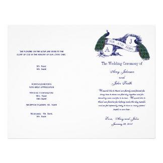 Het vintage Programma van het Huwelijk van de Pauw Flyer 21,6 X 27,9 Cm
