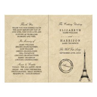 Het vintage Programma van het Huwelijk van Parijs Flyer 21,6 X 27,9 Cm