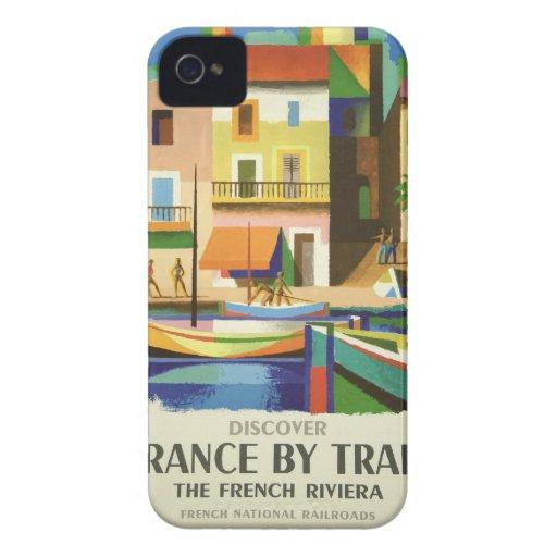 Het vintage Retro Art. van het Poster van de Reis iPhone 4 Hoesje