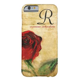 Het vintage Rood nam iPhone 6 van het Monogram hoe Barely There iPhone 6 Hoesje