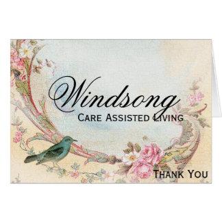 Het vintage Roze nam en Robin Wedding Business toe Briefkaarten 0