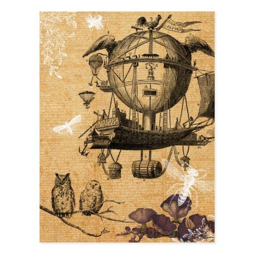 Het vintage Vliegende Briefkaart van de Machine Wens Kaart