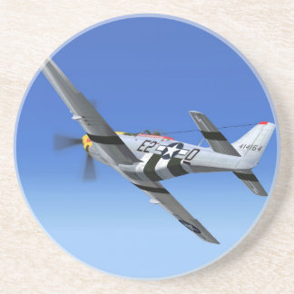 Het Vliegtuig van de Vechter van de Mustang van WO Zandsteen Onderzetter