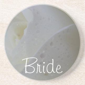 Het wit nam het Huwelijk van het Bloemblaadje toe Zandsteen Onderzetter