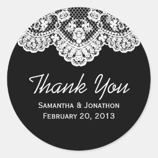 Het witte Kant en het Zwarte Huwelijk danken u Ronde Sticker