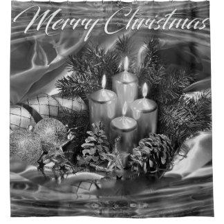 Het zwart-wit Gordijn van de Douche van Kerstmis Douchegordijn