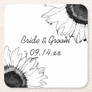 Het zwart-witte Huwelijk van Zonnebloemen Vierkante Onderzetter
