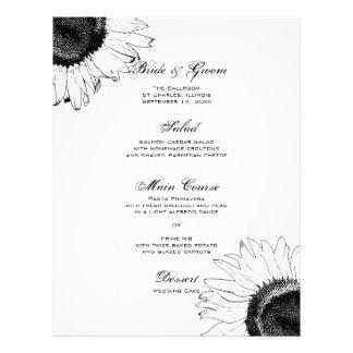 Het zwart-witte Menu van het Huwelijk van Zonneblo Gepersonaliseerde Folder