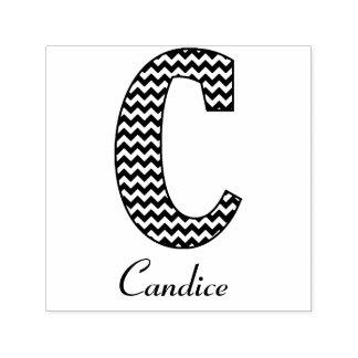 Het zwart-witte Monogram en de Naam van de Brief C Zelfinktende Stempel