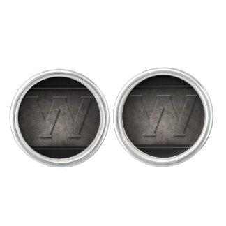 Het zwarte Paar van het Monogram van het Metaal W Manchetknopen