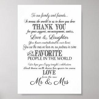 Het zwarte & witte Elegante huwelijk dankt u Poster