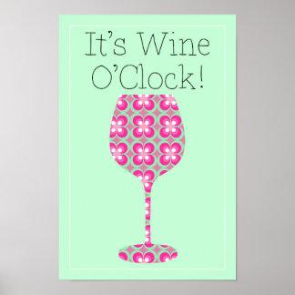 Heure de vin ! Affiche humoristique de motif de