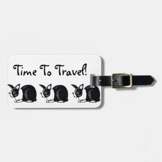 Heure de voyager ! Étiquette blanche noire de Étiquettes Bagages
