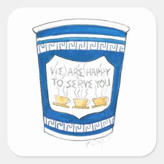 Heureux de vous servir l'épicerie bleue de NYC Sticker Carré