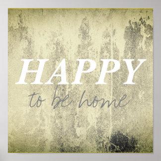 heureux d'être gris et blanc à la maison d'affiche poster