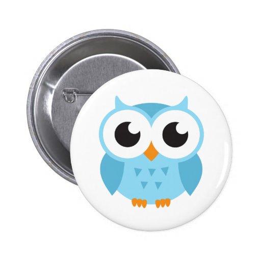 Hibou bleu mignon de bébé de bande dessinée badge avec épingle