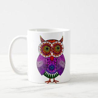 Hibou coloré mug blanc