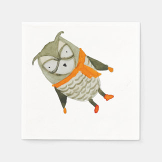 Hibou d'amis de forêt serviette en papier
