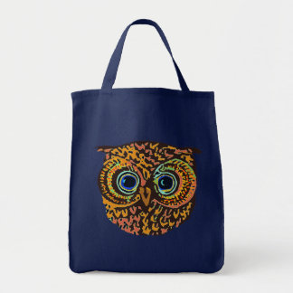 hibou de couleur tote bag
