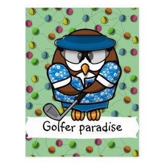 hibou de golfeur cartes postales