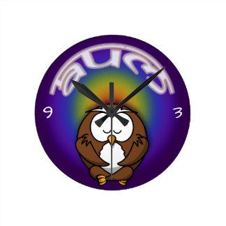 hibou de yoga horloge ronde