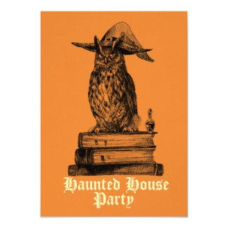 Hibou hanté de sorcière de partie de maison carton d'invitation  12,7 cm x 17,78 cm
