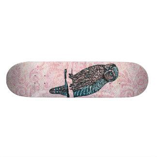 Hibou mignon bleu rose vintage skateboard old school  21,6 cm