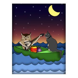 Hibou plus le minou, carte postale