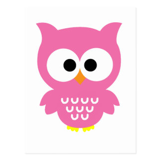 Hibou rose carte postale