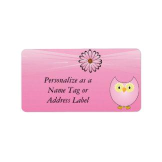 Hibou rose doux étiquette d'adresse