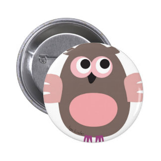 Hibou rose drôle badge rond 5 cm