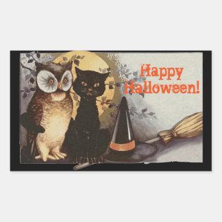 Hibou vintage de Halloween et chat noir la nuit Sticker Rectangulaire