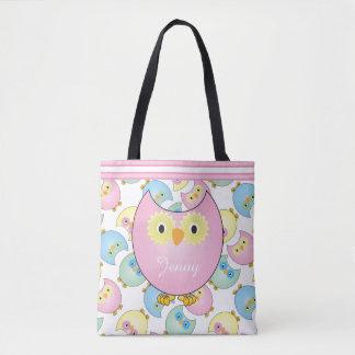 Hiboux de bébé de rose en pastel sac