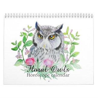 Hiboux floraux votre signe d'horoscope de fleur calendriers muraux