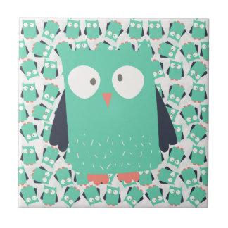 Hiboux lunatiques turquoises petit carreau carré