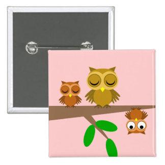 hiboux mignons et drôles badge carré 5 cm