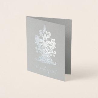 Hiboux royaux argentés gris nobles de Merci Carte Dorée
