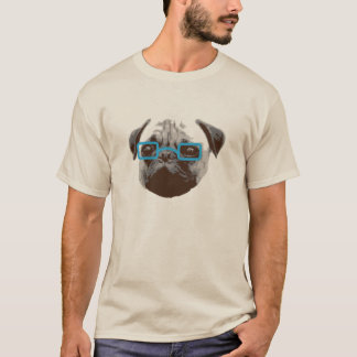 Hippie mignon de carlin avec les verres bleus t-shirt
