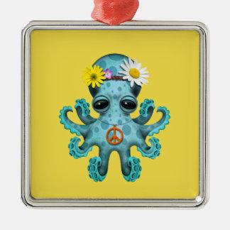 Hippie mignonne de poulpe de bébé bleu ornement carré argenté