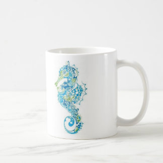 Hippocampe bleu abstrait mug