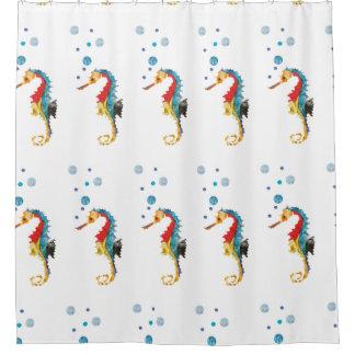 Hippocampe coloré audacieux mignon d'aquarelle rideaux de douche