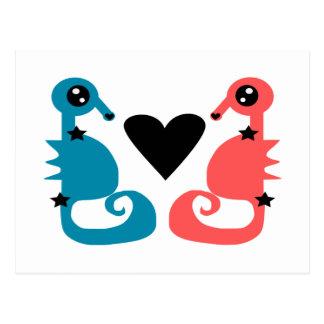 Hippocampes divins dans l'amour carte postale