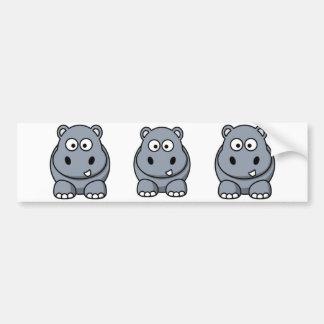 Hippopotame de bande dessinée autocollant de voiture