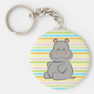 Hippopotame de bébé porte-clé rond
