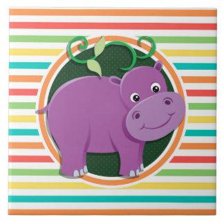 Hippopotame Rayures lumineuses d arc-en-ciel Carreaux En Céramique
